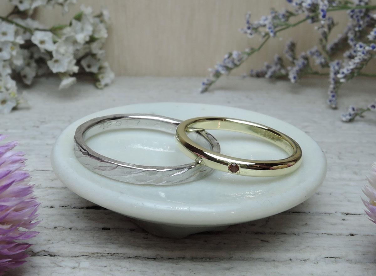 手作り 結婚指輪 誕生石